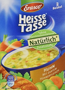 Erasco Heisse Tasse Hühner Suppe, 12er Pack (12 x 450 ml Beutel) - 1