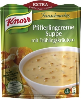 Knorr Feinschmecker Pfifferlingcreme Suppe mit Frühlingskräutern, 8 x 2 Teller (8 x 500 ml) - 1