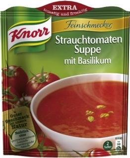Knorr Feinschmecker Strauchtomaten Suppe mit Basilikum, 8 x 2 Teller (8 x 500 ml) - 1