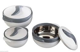 Thermoschüssel im 3er Set, weiß/grau, 0,5, 1,0 + 1,5 L, je mit Deckel - 1
